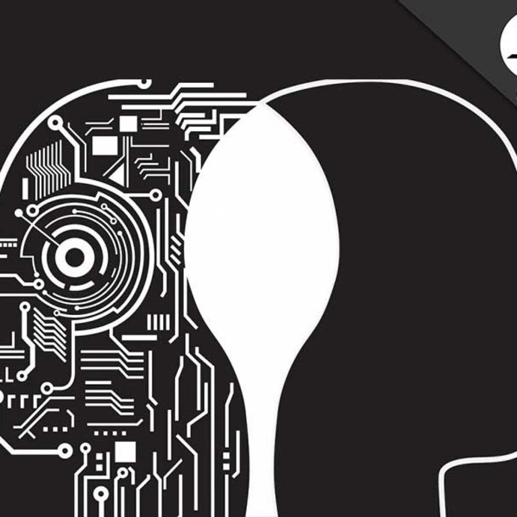 artificial-intelligence-man and Machine circuitry