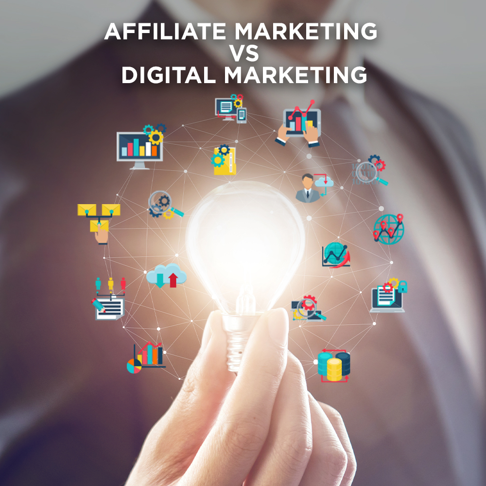 Lightbulb illustration of the difference you need to know between Affiliate marketing vs digital marketing