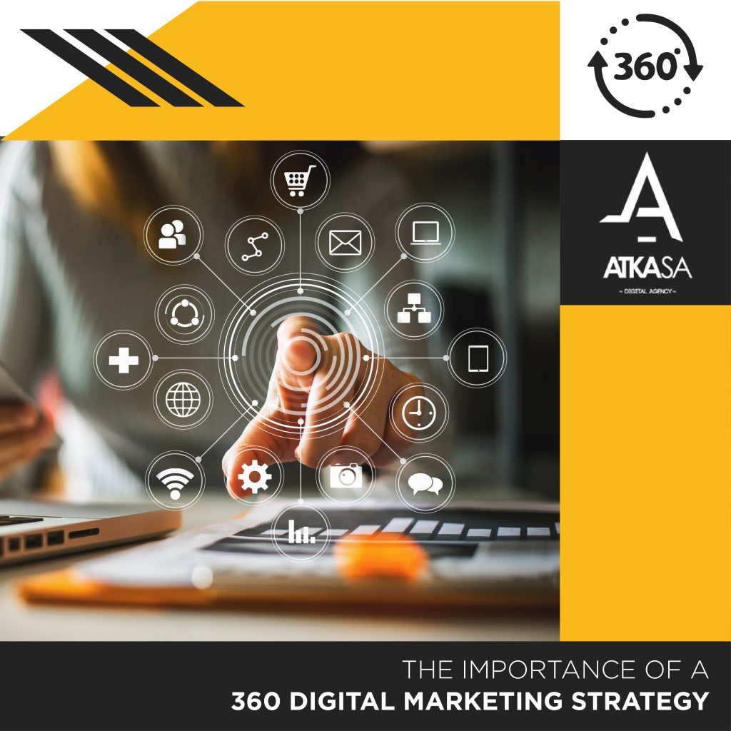 Female adult with her finger pointing towards the screen showing the images appearing around her finger of the 360 digital marketing strategy elements